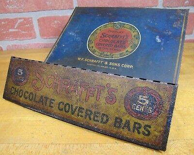 Orig p1920 SCHRAFFT'S CHOCOLATE BARS Tin Store Display Counter Top Sign HD Beach