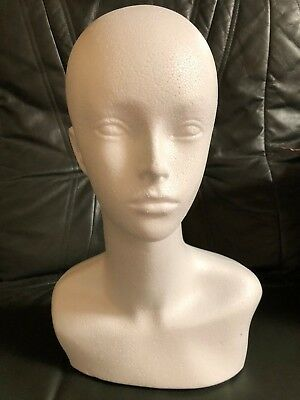 Unisex Female Polystyrene Head Display Mannequin With Shoulder for Wigs Hat