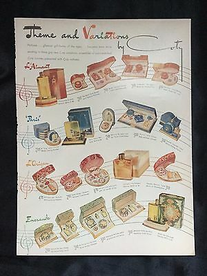 1941 Vintage Magazine Toiletry Ad~ Coty Perfume Powder Toilet Water ~ Emeraude