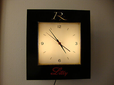 Vintage Rx Eli Lilly Drug Store, Pharmacy Light-Up Electrical Advertising Clock