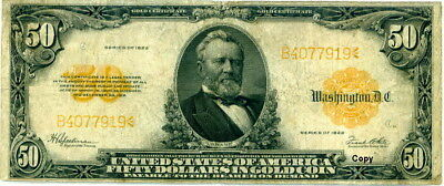 1922 $50 Us Gold Note ~~Reproduction~~