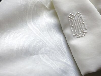FINE Set 8 Antique Linen Damask XL Napkins Hand Embroidery Monogram 27x28 Ivory