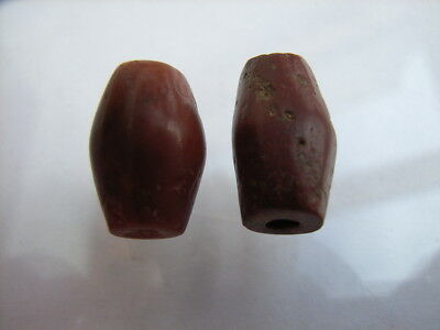 2 Ancient Egyptian Red Jasper Beads, Egypt VERY RARE!