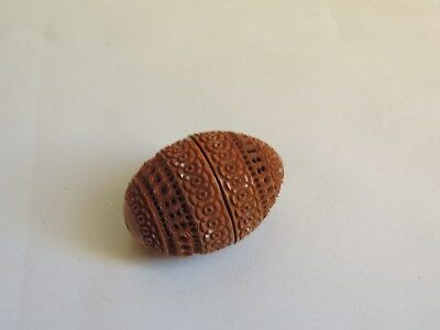 COQUILLA NUT Nutmeg Snuff SEWING THIMBLE CASE ETUI CARVED 1800s (J370)