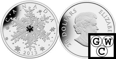 2013 'Winter Snowflake' Crystalized Proof $20 Silver Coin 1oz .9999 Fine (13300)