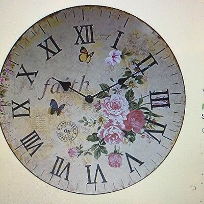 Hippih Silent Round Wooden Wall Clock Decorative Vintage/Country/French Style