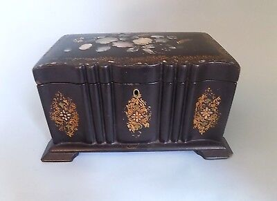 Antique Papier Mache Mother of Pearl Tea Caddy. Large Size. Good shape.