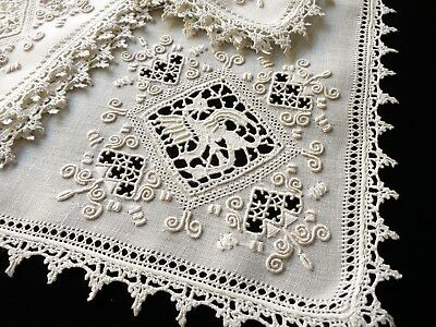 12 Antique ITALIAN Linen Napkins Hand Embroidery & Lace DRAGON, DEER, PEACOCK