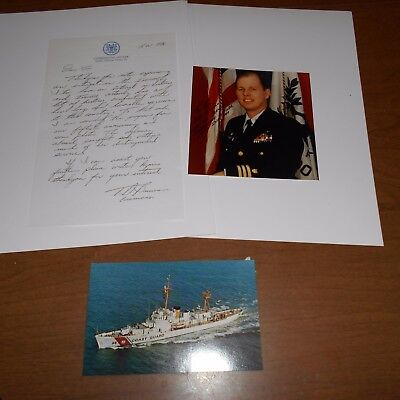 T.D.Brennan.Commanding Officer Of USCGC Ingham  Signed Photo & Letter