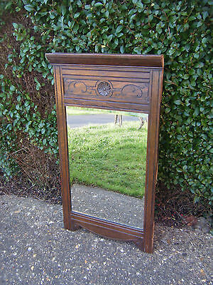 Fabulous Vintage Original Mahogany Bevelled Edge Wall/Hall Mirror/Carved Feature