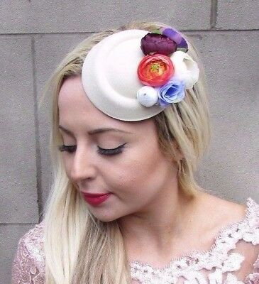 Small Purple Cream Rose Flower Pillbox Hat Fascinator Hair Clip Races Vtg 4699
