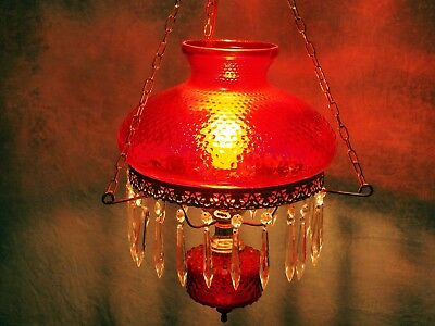 ANTIQUE Brass RUBY CRANBERRY RED AMBER HOBNAIL Hanging Library LAMP Electrified