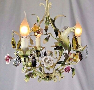 Porcelain Tole Chandelier: French Antique c1920 Roses Flowers Crystal Beads