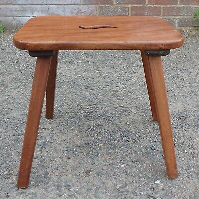 George III country farmhouse antique mahogany pierced milking footstool stool