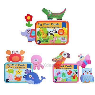 6 in 1 Cartoon Wooden Puzzle Jigsaw Cartoon Baby Kids Educational Learning Gifts