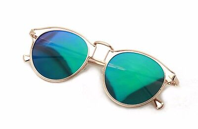 c95f58dec8 Womens Fashion Round Metal Cut-Out Near Flat Flash Mirror Lens Hip  Sunglasses