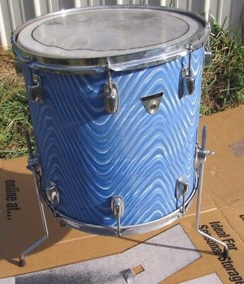 Vintage Ludwig Standard Model Floor Tom Drum Blue Astro Wrap  U.S.A.