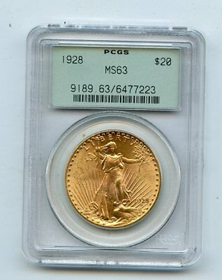 1928 Saint Gaudens Double Eagle $20 Gold Coin Old Green Holder (MS63) PCGS