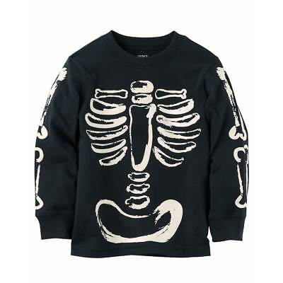6191be7a4 NEW CARTER S HALLOWEEN Skeleton Glow in Dark Top NWT 2T 3T 4T 5T 6 7 ...