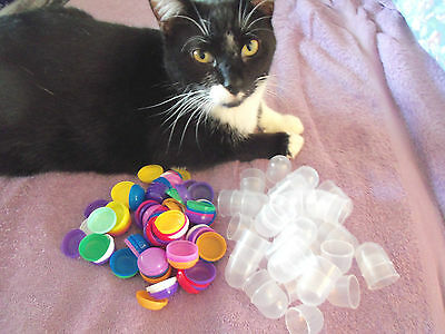 """100  EMPTY 1.1""""  VENDING CAPSULES    (Assorted Color Tops)"""