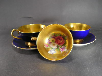Paragon China Gilded Blue g6591 Pink Rose Cabinet Demitasse 3 Cups & 2 Saucers