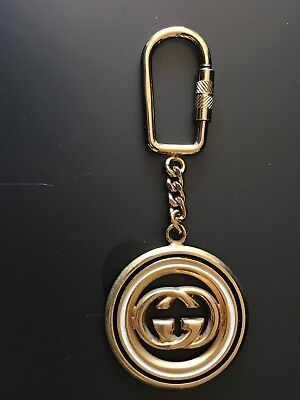 Rare Authentic Vintage Double G Gucci Enamel Key Ring, Bag Charm / Signed /Italy