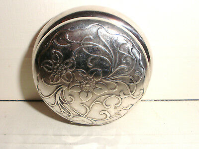 Antique Art Nouveau flower Sterling Silver snuff pill hinged box