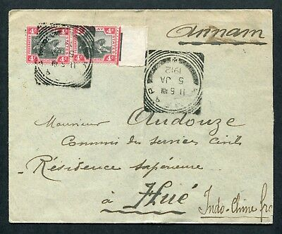 1912 FMS Malaya 2 x 4c Tiger stamps on cover Kampar to Indo Chine Annam