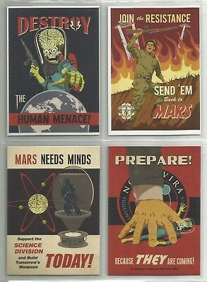 "2013 Mars Attack Invasion PROPAGANDA POSTERS ""Complete Set"" of 4 Cards (1-4)"