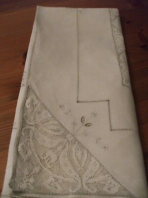 "Antique / vintage  linen filet lace tablecloth 34"" x 35"""