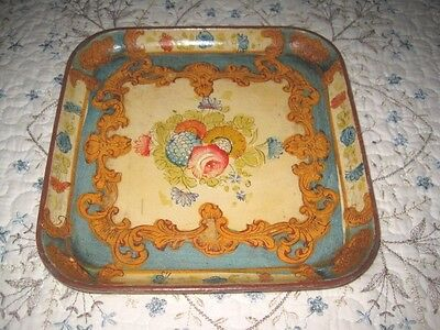 Vintage Hand Painted Aqua Pale Yellow Paper Mache Tole Dresser Jewelry Tray
