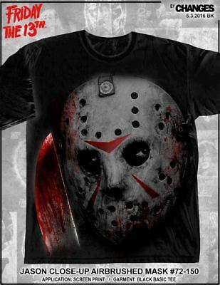 fc9d45d58dc Friday the 13th Jason Up Close Airbrushed Mask Horror Movie Mens Shirt  72-150