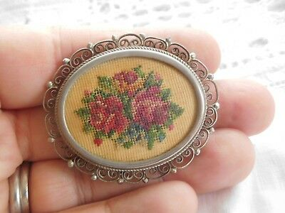 Vintage 1950s Austrian Petit Point Embroidered ROSE Brooch filigree setting