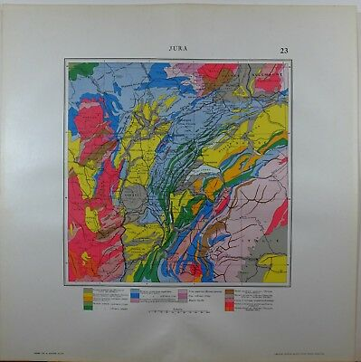 1929 Original Map ~ France Jura Geological Jurrasic Volcanic Carbon