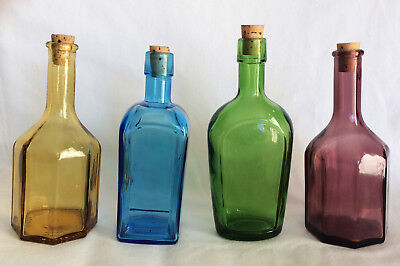 Four Vintage Wheaton Glass Bottles with cork Purple, Amber, Green, Blue