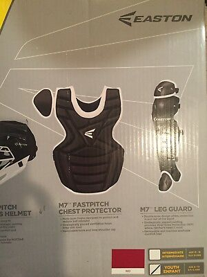 Easton M7 Fastpitch Series Black/ White Youth Catchers Set Age 9-12 New!