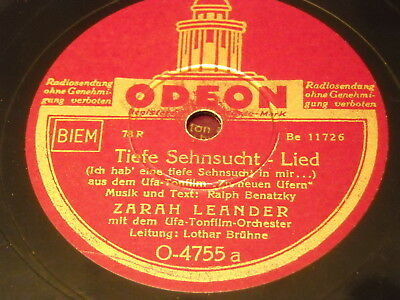 Zarah Leander - Tiefe Sehnsucht/Yes Sir (Chanson) Odeon 4755