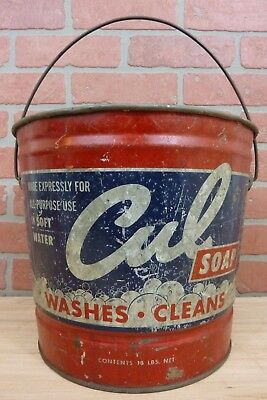 Orig 1950s CUL SOAP Advertising Metal Bucket Culligan Washes Cleans made in USA
