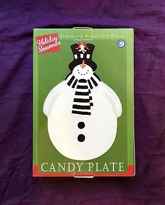 Stephanie Stouffer Certified International Holiday Snowman Candy Plate 10.5""