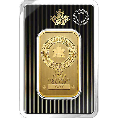 1 oz 2018 Gold Bar - RCM .9999 Gold New Design in Assay - Royal Canadian Mint