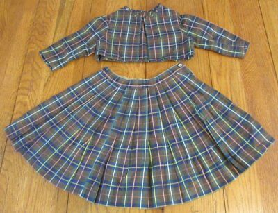 EARLY Antique Baby Girl SKIRT Jacket Plaid GLAZE fabric 1800s
