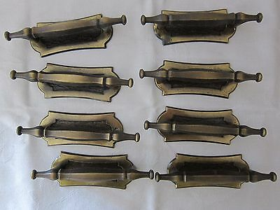 8 Vintage 1970 National Lock Brass Drawer Pulls And Back Plates