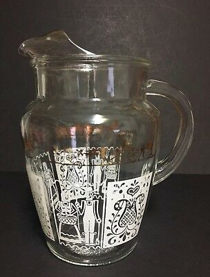 Vintage Clear Glass Water/Juice Pitcher ~10 Cups~Farmer Horse & Buggy-Ice Lip