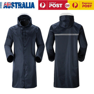 Mens Womens Adults/Unisex Waterproof Long Coat/Rain Coat Jacket Windproof AU