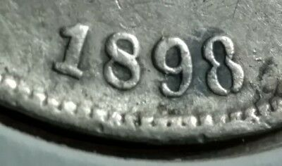 """1898 Colombia - 50 Centavos """"Open 8"""" Variety - Bogota Mint Silver Coin"""