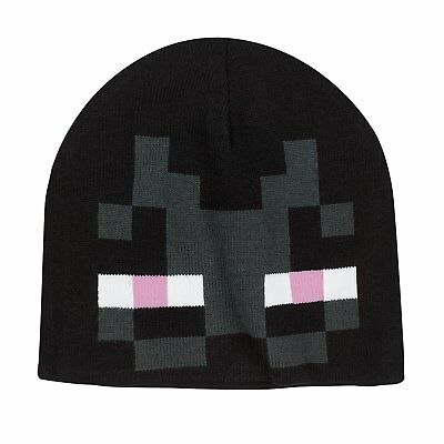 Authentic MINECRAFT Enderman Kids Knit Beanie Black NEW
