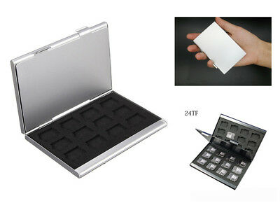 Newest Aluminum Memory Card Storage Case Box Holder For 24 TF Micro SD Cards