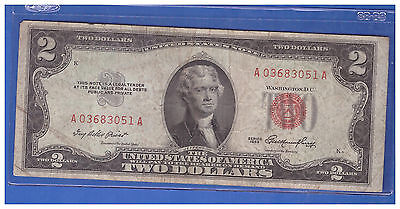 1953 $2 Dollar Bill Old Us Note Legal Tender Paper Money Currency Red Seal H421