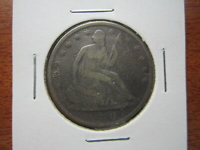 1870 Seated Liberty Half Dollar 90% silver in coin holder