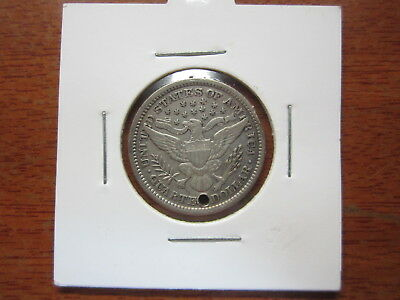 1899 Quarter Dollar 90% silver in coin holder hole drilled